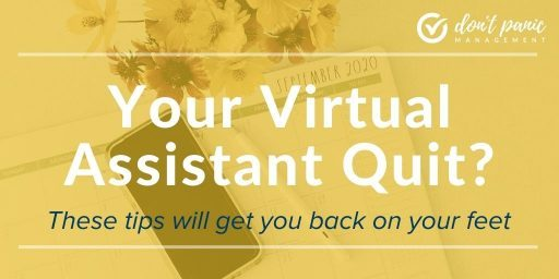 """""""blue and white text on orange background 'Your Virtual Assistant Quit? These tips will get you back on your feet."""""""